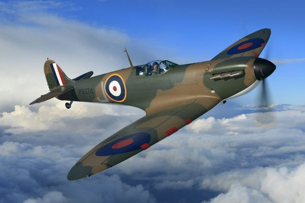 A Spitfire soars - Thomas Kaplan Vickers Supermarine Spitfire Mark 1A – P9374/G-MK1A World War II British fighter aircraft sells for charity for £3.1 million at Christie's in London, 9th July 2015