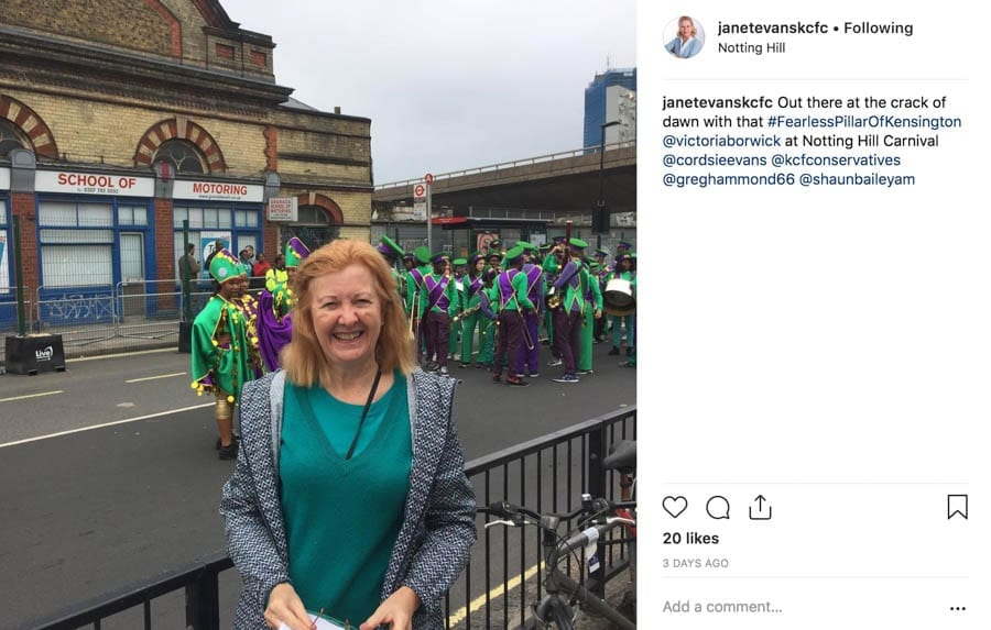 Borwick is Back – Former MP Victoria Borwick returns to the fray –Former Kensington MP Victoria Borwick returns to the fray and is branded a #FearlessPillarOfTheCommunity in spite of her bizarre comments linking the Grenfell Tower tragedy and gangs