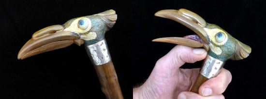 The whimsical bird cane currently available through Geoffrey Breeze
