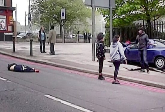 The scene of the murder of an innocent soldier (left) in Woolwich on the afternoon of Wednesday 22nd May 2013. Two women selflessly confront one of the killers (right).