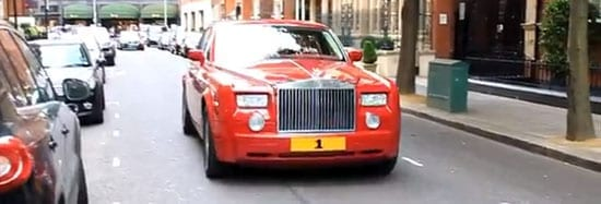 """The """"1"""" plate was previously seen in London on a lighter red Rolls-Royce Phantom"""