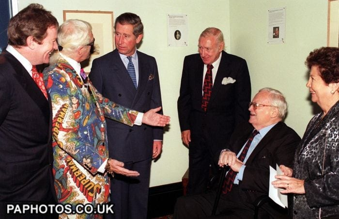 Jim Davidson pictured with Jimmy Savile, Prince Charles and others