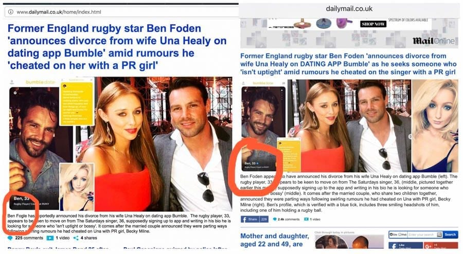 The Affair That Never Was – Ben Fogle, Ben Foden and the Daily Mail – As the Mail Online makes yet another balls-up, The Steeple Times suggests that Lord Rothermere hire a decent copy checker – Rugby player Ben Foden supposedly embarked on a relationship with PR woman Becky Milne whilst still married to 'The Saturday's' singer Una Healy; television presenter Ben Fogle was mistakenly brought into the mix by a rather ineffectual 'Mail Online' copychecker – The story of The Man Who Never Was was inspired by an incident involving Dame Paddy Ridsdale, Ian Fleming's secretary and later the inspiration for the Bond character Miss Moneypeny, during the Second World War