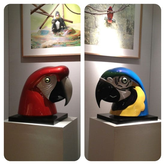 'Macaws head' and 'Blue Ara' by Jean-Marie Fiori. Exhibited by Galerie Dumonteil, both sold on the preview night.