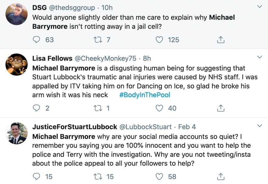 The Baloney of Barrymore – Michael Barrymore disgraces himself again – Michael Barrymore's bizarre rant prior to Channel 4's documentary about the death of Stuart Lubbock proves him a lying maniac; the crazed nutjob has now also blocked 'The Steeple Times'