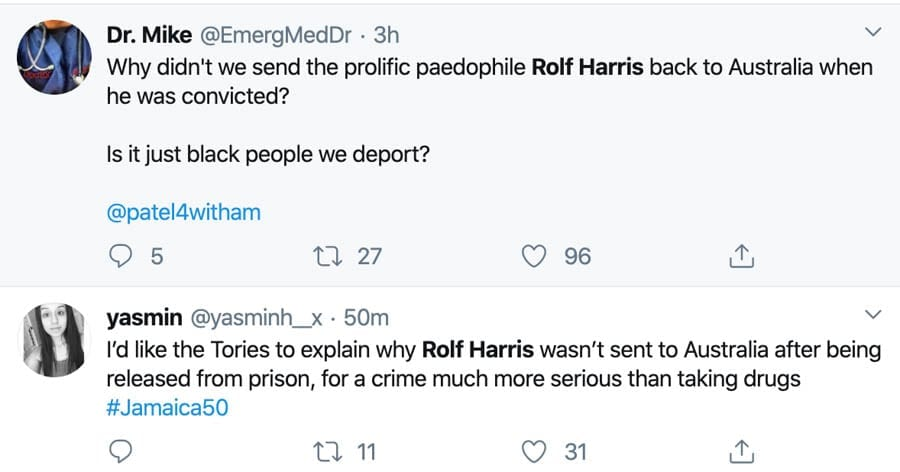 Deport Rotten Rolf – Why was the paedo Rolf Harris not deported? As a deportation flight leaves for Jamaica, Twitter users have rightly angrily reacted asking why the paedophile Rolf Harris was not sent back to Australia after his release.