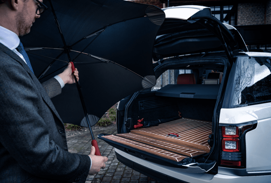 A Costly Coupé – Range Rover Adventum Coupé for sale for £256k through Classic Youngtimers – Coachbuilt 2018 Range Rover Adventum Coupé by Dutch designer Niels van Roij for sale for an eye-watering sum; it comes with two umbrellas with handles made of the same leather as the interior.