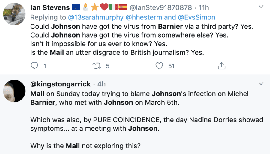 A Double Fail – Mail on Sunday blame Barnier for BoJo's coronavirus – 'The Mail on Sunday' went far too far in attempting to blame Michel Barnier for Boris Johnson getting coronavirus and the Chinese for virtually everything else. Sunday 29th March 2020.