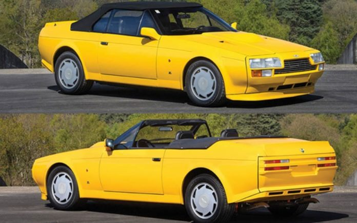 A Marmite Aston – Fury Yellow 1989 Aston Martin V8 Vantage Volante Zagato to be auctioned by RM Sotheby's at their Villa Erba sale on Saturday 27th May 2017 – £379,000 to £464,000 ($491,000 to $600,000, €450,000 to €550,000 or درهم1.8 million to درهم2.2 million)