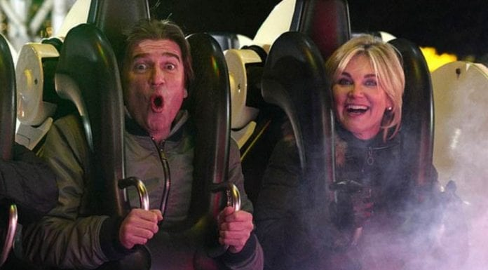 """Anth' Swings into Hyde Park – Anthea Turner at Winter Wonderland in Hyde Park on Boxing Day 26th December 2019 – Publicity loving Anthea Turner and policeman biter fiancé """"giggled like teens"""" as they """"hit the rides"""" at Winter Wonderland on Boxing Day."""