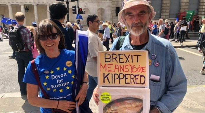 Picture of the Week – Kippered Boris – March for Change attendees from Devon send a clear message to Boris Johnson about his lies about kippers.