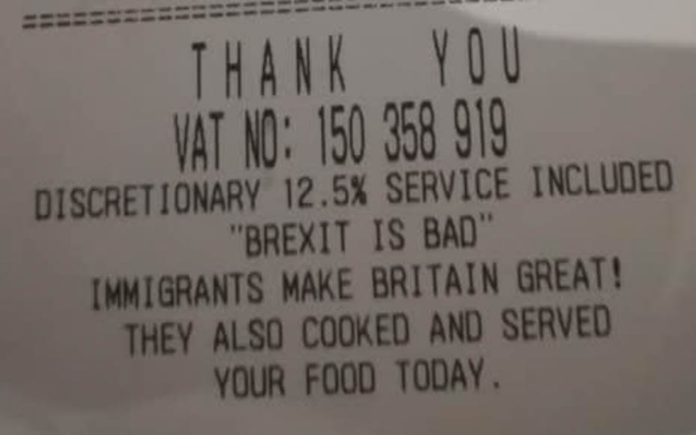 Billing Against Brexit – As a restaurant popular with politicians adds anti-Brexit slogans to its bills, it must be highlighted that the hospitality industry is entirely dependent on immigrant workers.
