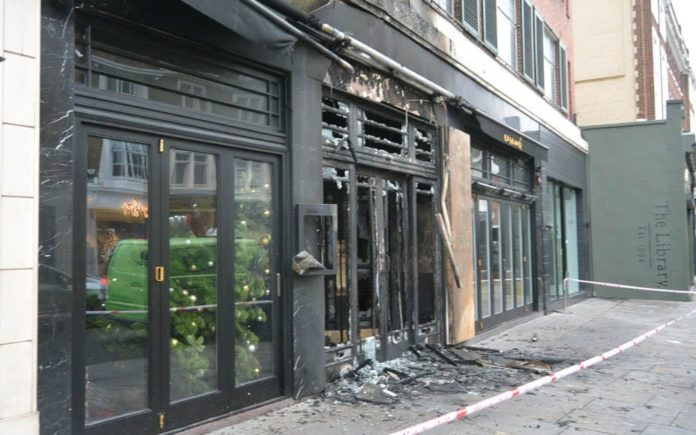 Caramelized – Former La Brasserie (now Caramel) suffers fire – Frontage of former La Brasserie premises in South Kensington – now Caramel – burnt to a crisp on morning of 6th December 2018.