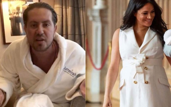 """The Carpetbagging Copycat – Meghan Markle, The Duchess of Sussex vs. James Stunt – The Duchess of Sussex gets mocked on social media after """"stealing"""" James Stunt's 'dressing gown look' to introduce her newly arrived son."""