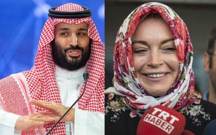 Bonkers Bedfellows – If Crown Prince Mohammad bin Salman is dating the car crash that is Lindsay Lohan, he must be bonkers; the truth is more likely that this washed-up slapper is pulling yet another publicity stunt.
