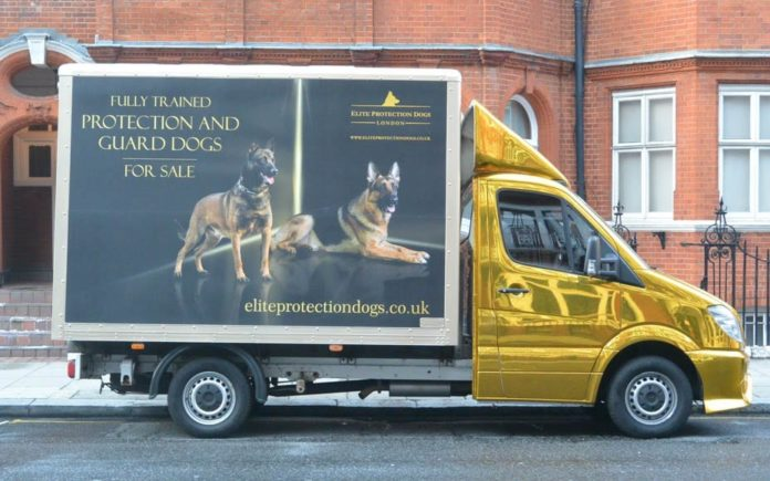 "Dogging Assange – Elite Protection Dogs London – Gold wrapped van advertising ""elite"" dogs parks opposite the Ecuadorian Embassy 'home' of bail skipper Julian Assange."