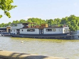 Britain's Priciest Houseboat – Flagship, Cheyne Walk, Chelsea, SW3 – Thames houseboat moored at Cadogan Pier in Chelsea goes on sale for extraordinary sum of £2.5 million through Knight Frank.