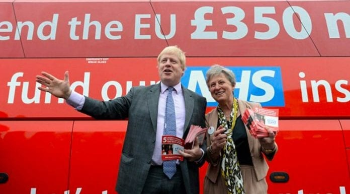 "Gobby Gisela – Vote Leave's Gisela Stuart should be ashamed of herself – The sheer arrogance of Vote Leave's Gisela Stuart has yet again been illustrated – Pictured above: Gisela Stuart with Boris Johnson and the disgraceful Brexit ""bus of lies"" during the 2016 Brexit referendum campaign."