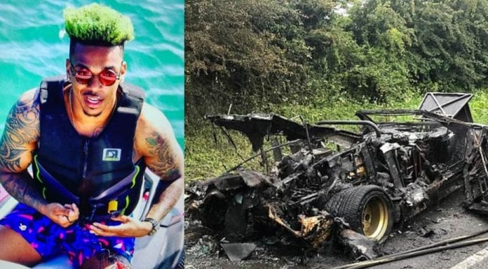 """A Not So Jolly Green Giant – Footballer Jamal Blackman and James Stunt – Footballer Jamal revealed as the """"black man with dyed green hair"""" who falsely claimed to be the owner of James Stunt's now burnt out Lamborghini."""