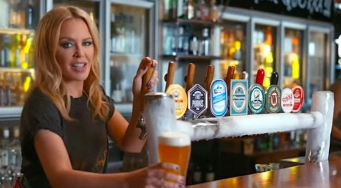 """Matesong – Kylie Minogue in Tourism Australia advert targeting UK – Kylie Minogue attempts to lure """"Brexit-weary"""" Brits to Australia as part of an advertising campaign."""