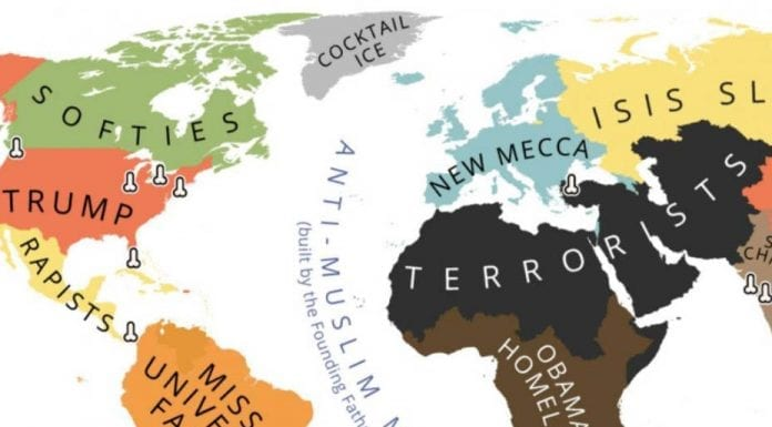 Mapping Trump – The world according to Donald Trump by Bulgarian artist Yanko Tsvetkov – Atlas of Prejudice – Urbanologie guide to where to watch US elections in London