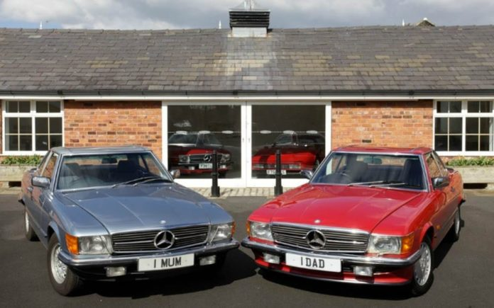 One for Mum and One for Dad – A pair of Mercedes-Benz cars for parents – 1 MUM and 1 DAD personalised numberplates – William Loughran – 1985 Mercedes-Benz 380SL and 1988 Mercedes-Benz 420SL