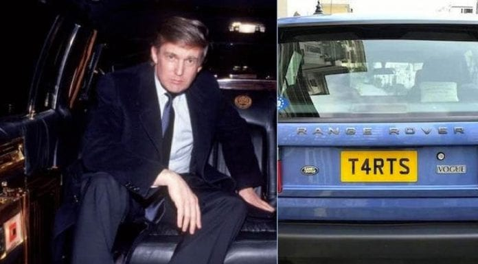 "Tarts & Trump – Ex-Donald Trump limo and Range Rover with the perfect plate for the ""pussy grabber"" to be auctioned side-by-side at Goodwood on 19th March 2017 – 2000 4.6-litre Land Rover Vogue with registration plate T4 RTS for £10,000 to £15,000 ($12,300 to $18,400, €12,000 to €17,000 or درهم 45,000 to درهم 67,700) and former Donald Trump 5.0-litre Cadillac 'Golden Series' by Dillinger Coach Works for £10,000 to £12,000 ($12,300 to $14,700, €12,000 to €14,000 or درهم 45,000 to درهم 54,000)"
