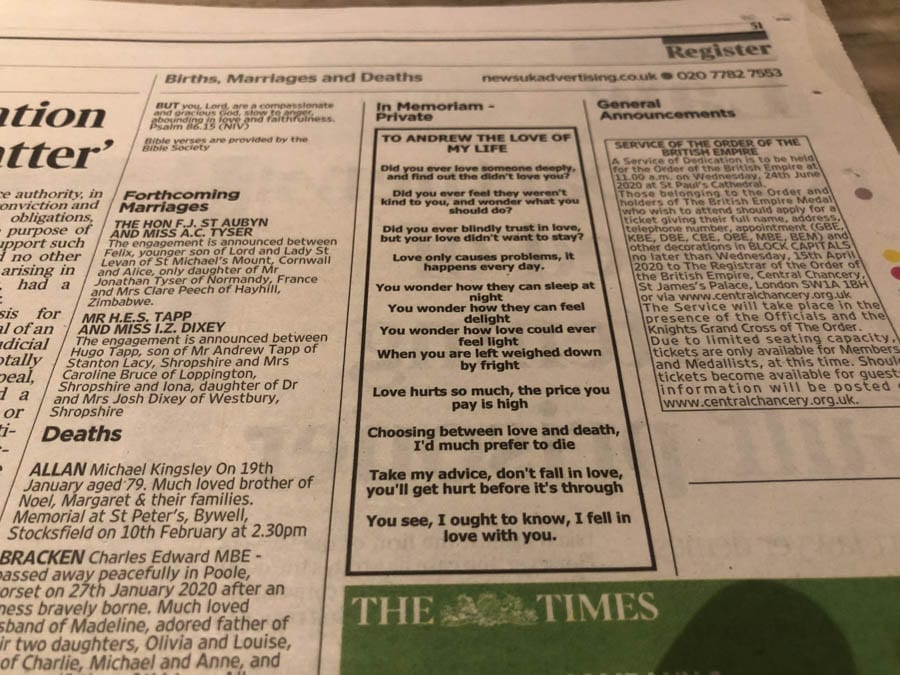 Oh Randy, Oh Randy Andy – A missive from Ghislaine Maxwell to Prince Andrew? – 'The Times' allows a most curious notice to appear on its 'Register' page; Could it have been cryptically penned by Ghislaine Maxwell to Prince Andrew?