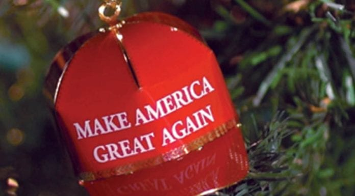 Trumping Christmas – Donald Trump Christmas red cap bauble