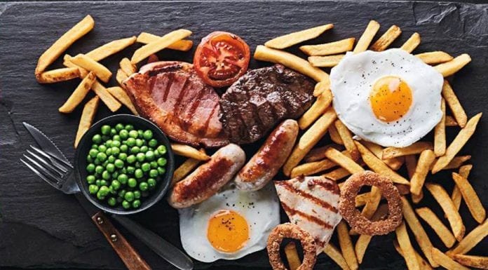 Death by Mixed Grill – Mixed grill kills Welsh woman – Brewers Fayre steak, gammon, fried eggs, chicken breast, pork sausage, chips, onion rings, grilled tomato and peas mix kills woman.