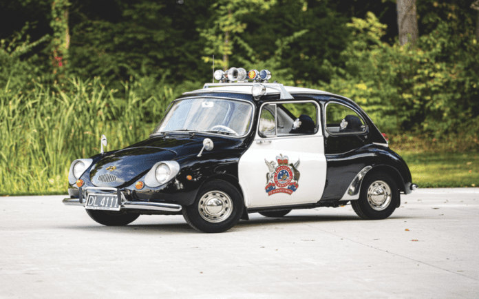 A Seriously Slow Subaru – 1970 Subaru 360 police car to be auctioned by RM Sotheby's on 1st to 2nd May 2020 as part of the Elkhart Collection in Elkhart, Indiana – Quirky Subaru police car to be sold at auction; unlike anything Colin McRae drove it's as slow as a snail.