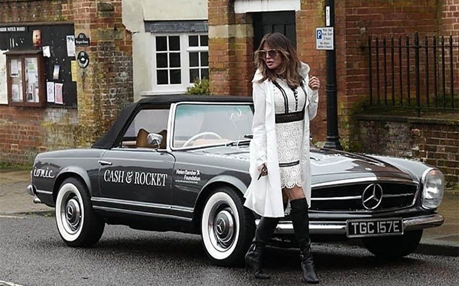Lizzie Replaces Ghislaine – Lizzie Cundy, Ghislaine Maxwell, Cash & Rocket rally – With paedophile Jeffrey Epstein's alleged madam Ghislaine Maxwell still missing, knicker flasher Lizzie Cundy steps into the breach in the forthcoming 2020 Barcelona to Florence Cash & Rocket rally.