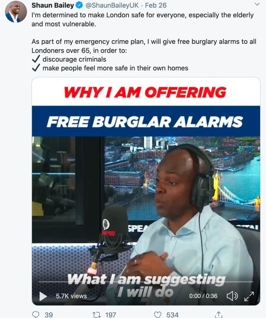 Wally of the Week – Burglar alarm obsessive Shaun Bailey – Mayor of London candidate Shaun Bailey's policy of giving out burglar alarm to 300,000 homes is utterly ludicrous.