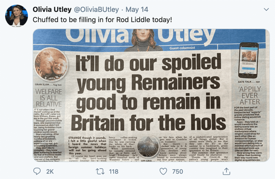 Moron of the Moment – Bigmouthed berk Olivia Utley on Brexit – Rent-a-gob stand-in for Rod Liddle at 'The Sun' Olivia Utley shows herself to be nothing but a big-mouthed berk in banging on about Brexit; she should eff off!