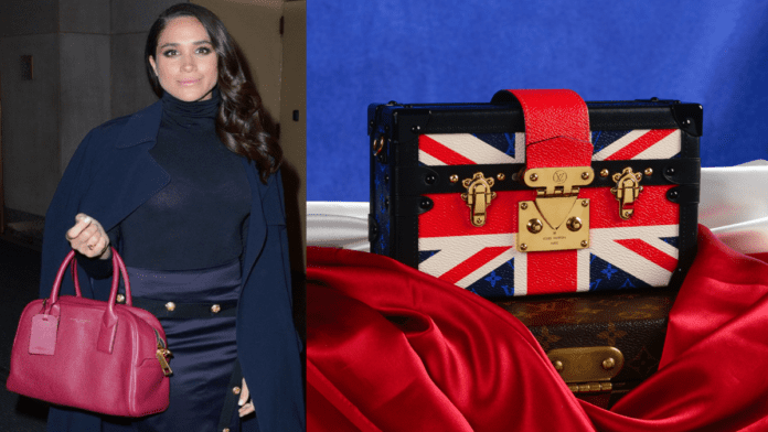 """Handbagged by Meghan – Meghan Markle handbag for sale – Handbag created by Louis Vuitton to """"celebrate"""" the marriage of Meghan Markle to Prince Harry to be auctioned for a crazy sum. Fellow Auctioneers are selling the lot in their online 8th June 2020 sale and have set an estimate of £12,000 to £18,000 ($15,100 to $22,700, €13,500 to €20,200 or درهم55,500 to درهم83,300)."""