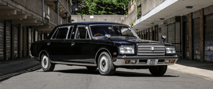 A 20th Century Limo – £13,000 to £17,000 ($16,300 to $21,300, €14,500 to €18,900 or درهم59,900 to درهم78,300) for 1994 Toyota Century limousine at Historics Auctioneers Windsorview Lakes sale on 18th July 2020 – 'Stretched' 1994 Toyota Century for sale for less than the price of a brand new Ford Fiesta; the limousine comes with a food heating compartment and privacy curtains favoured by notoriously shy Japanese people even.