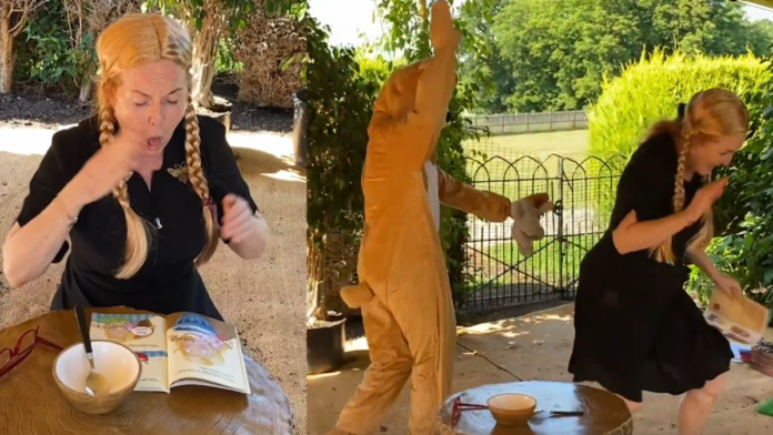 Fergie Does Porridge – Duchess of York makes a fool of herself again – As the Duchess of York makes a fool of herself retching over a bowl of porridge in a blonde wig, one has to question why nobody reins this imbecile in; Fergie should ideally learn the art of silence.