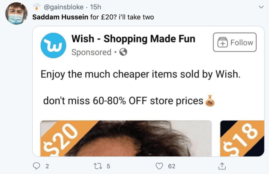 "Wishing Saddam for $20 – Silly season sees Saddam Hussein put up for sale – Silly season stupidity sends Saddam Hussein being ""sold"" for $20 on Wish.com viral."
