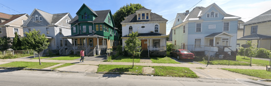 A Hair of the Dog of a House – £744 for detached house at 214 Colvin Street East, Brighton, Southside Syracuse, New York State, NY 13205, United States of America through Greater Syracuse Land Bank – Detached Edwardian house in New York State for sale for just £744 or 8,400% less than it cost to build in 1906; it is in the place of Tom Cruise's birth and was home to a famous German police dog in the 1920s.