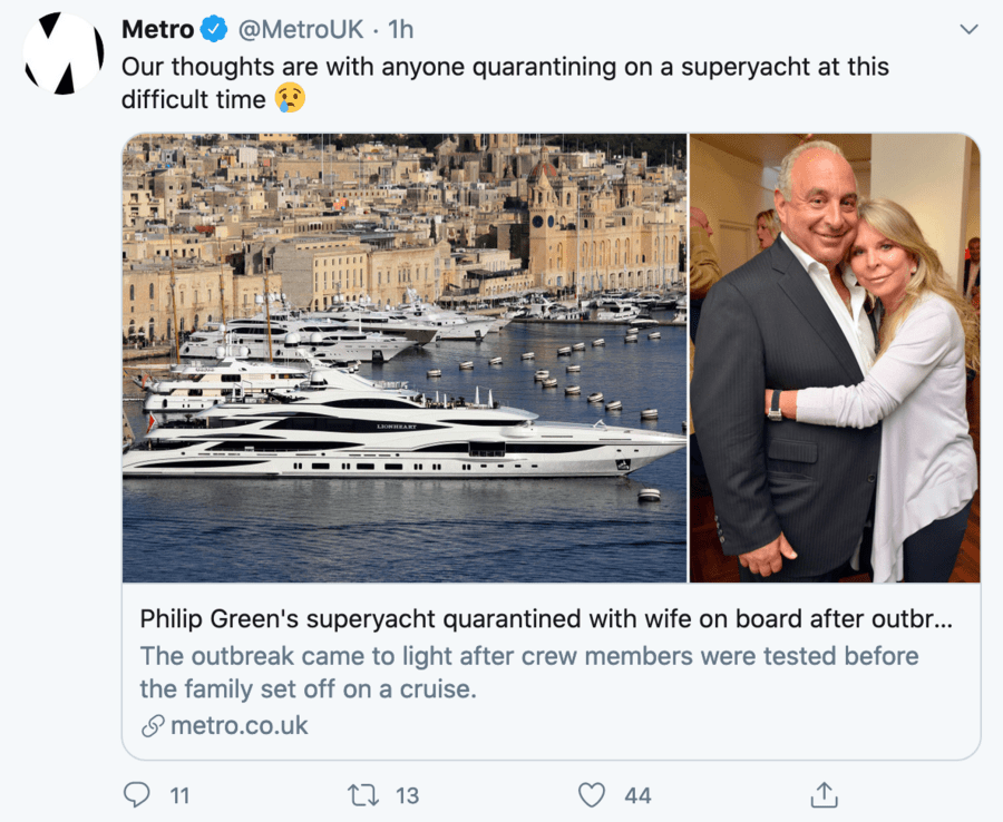 Wally of the Week – Lady Green bleats about being stuck on her yacht – BHS Bandit Sir Philp Green's wife's bleating about being stuck on her yacht in Monaco is nothing but pathetic; Lady Green plainly has no comprehension of how out of touch she truly is with reality.