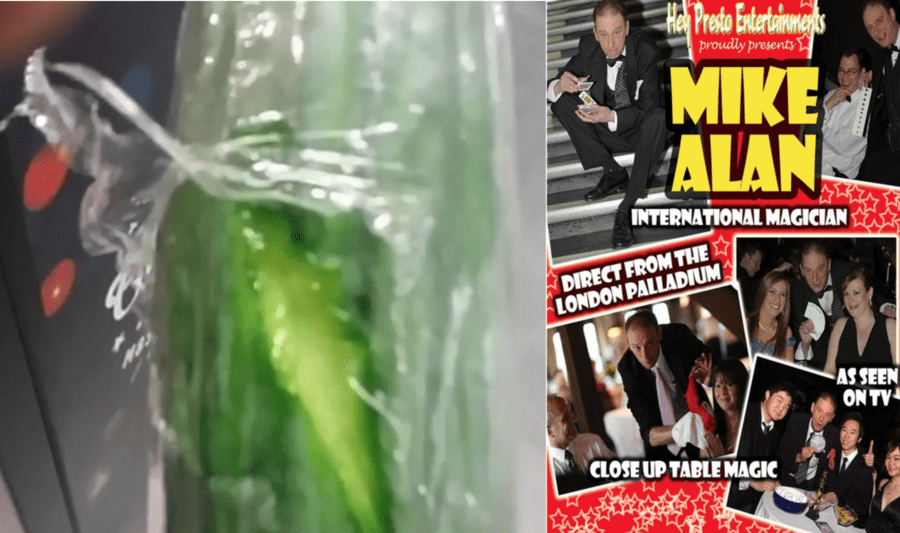 """Wally of the Week – Magician Mike Alan gets his coat savaged in M&S – """"International magician"""" Mike Alan goes mental with a cucumber after alleging a """"razor sharp"""" M&S shelf """"savaged"""" his coat and left him """"looking like a snowman."""""""